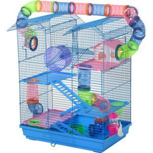 PawHut Hamsterkäfig mit Zubehör mehrfarbig 47 x 30 x 59 cm (LxBxH) | Mäusekäfig Nagerkäfig Tierkäfig Kleintierkäfig - Bild 1