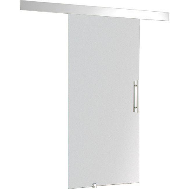 HOMCOM Glasschiebetür mit Griffstange silber, transparent   Schiebetür Tür Glastür Zimmertür Glaszimmertür - Bild 1