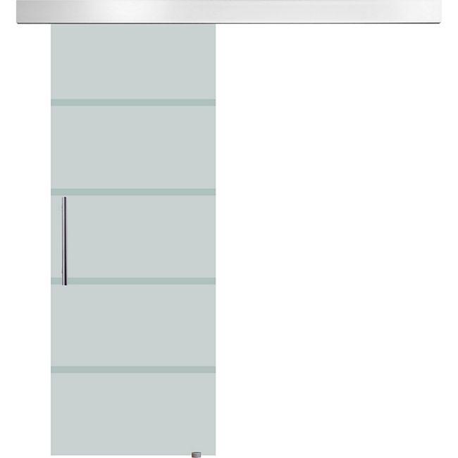 HOMCOM Glasschiebetür mit Handgriff silber, transparent | Schiebetür Tür Glastür Zimmertür Glaszimmertür - Bild 1