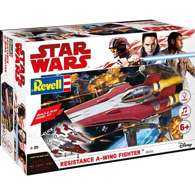Revell 06759 Star Wars Modellbausatz Build & Play A-Wing Fighter rot 1:44, ab 6 Jahre - Bild 1