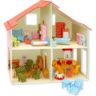 PEBARO Holzbausatz Puppenhaus + Möbel 40 x 37 cm - Bild 1