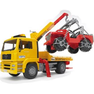 bruder 02750 MAN TGA Abschlepp-LKW mit Geländewagen - Bild 1