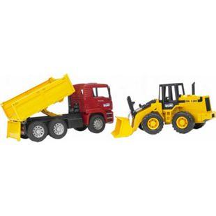 bruder 02752 MAN TGA Kipplastwagen und Gelenkradlader FR130 - Bild 1
