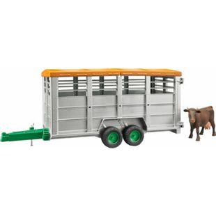 bruder 02227 Viehtransportanhänger inklusive 1 Kuh - Bild 1