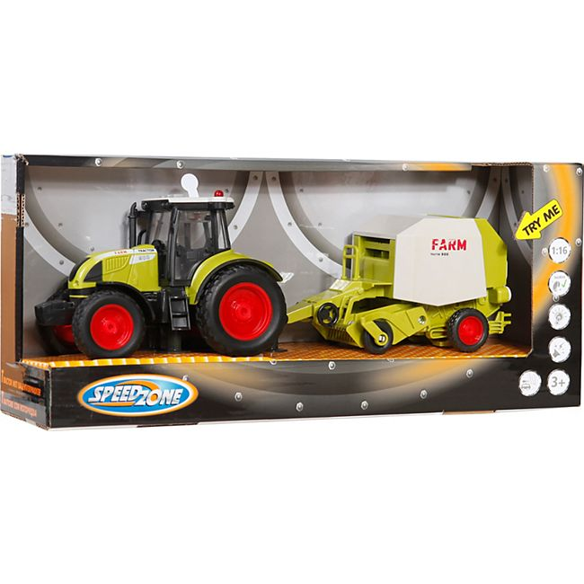 Speedzone Traktor mit Rundballenpresse, Licht & Sound, Friktion - Bild 1