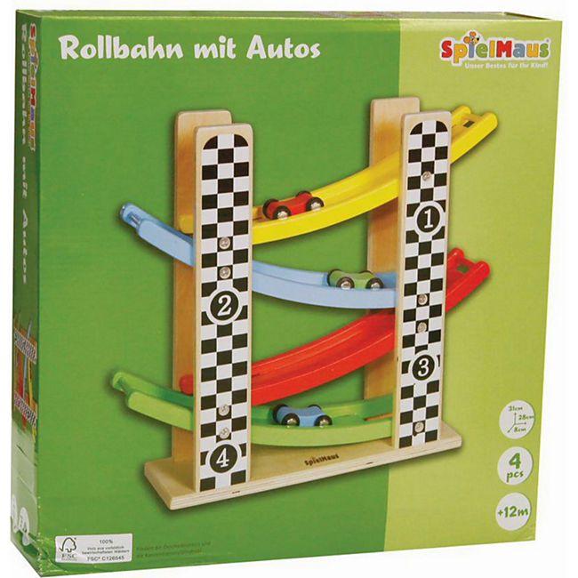 SpielMaus Holz Rollbahn mit Autos - Bild 1