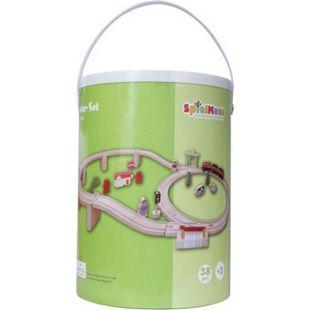 SpielMaus Baby SpielMaus Holz Holzeisenbahn in Trommel, 38-teilig - Bild 1