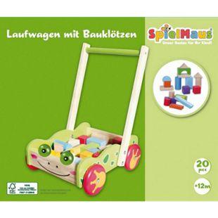 SpielMaus Holz SpielMaus Holz Laufwagen mit Bauklötzen, 20 Stück - Bild 1