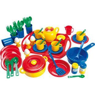 Dantoy Geschirrset 57-teilig aus Kunststoff auf Tablett, Kinderspielzeug - Bild 1