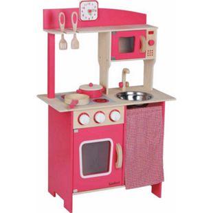 beeboo SpielMaus Hol Kinder-Holzküche rot, mit Zubehör - Bild 1