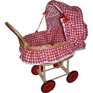 Coopexim Puppen-Korbwagen mit Garnitur, rot / weiß Karo - Bild 1