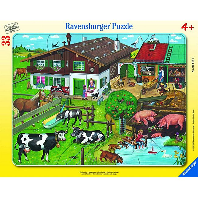 Ravensburger 06618 Rahmenpuzzle Tierfamilien 33 Teile - Bild 1