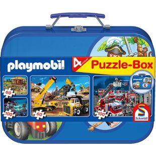 Schmidt Spiele Puzzle Playmobil im Metallkoffer 2 x 60 Teile, 2 x 100 Teile - Bild 1