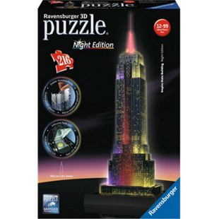 Ravensburger 12566 Puzzle 3D Empire State Building Night Edition 216 Teile - Bild 1