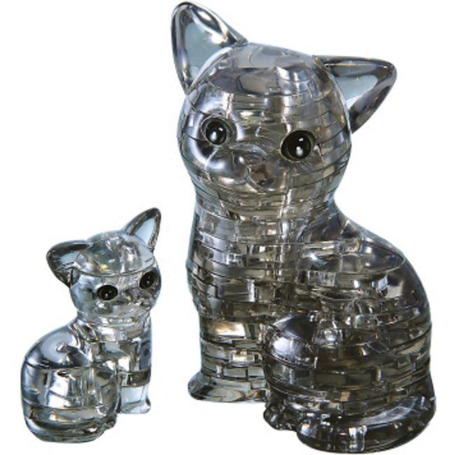 HCM 3D Crystal Puzzle - Katzenpaar 49 Teile - Bild 1