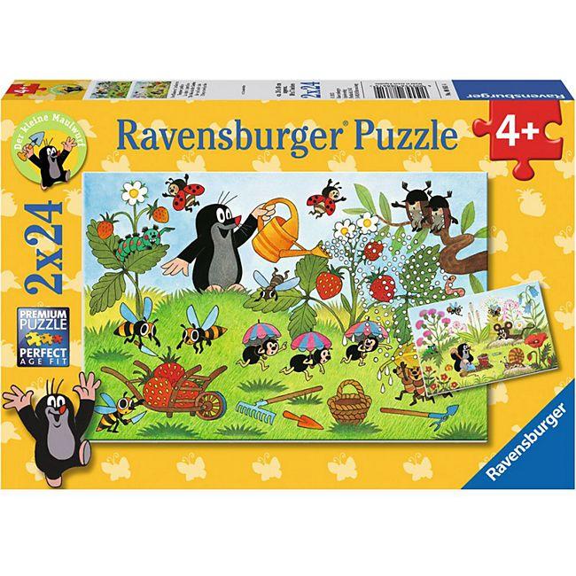 Ravensburger 08861 Puzzle Der Maulwurf im Garten 2x24 Teile - Bild 1