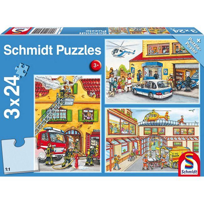 Schmidt Spiele Kinderpuzzle Feuerwehr und Polizei, 3x24 Teile - Bild 1