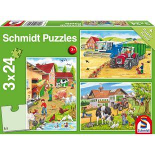 Schmidt Spiele Kinderpuzzle Auf dem Bauernhof, 3x24 Teile - Bild 1