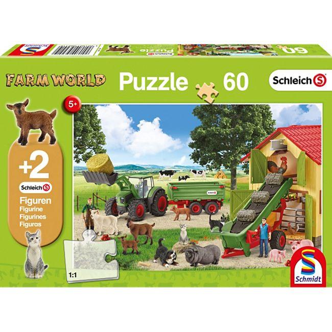 Schmidt Spiele Kinderpuzzle Schleich Heueinfahrt auf dem Bauernhof 60 Teile - Bild 1