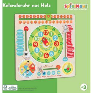 SpielMaus Holz Kalenderuhr aus Holz 30x30cm - Bild 1