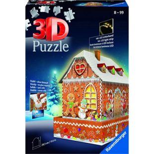 Ravensburger 11237 3D Puzzle Lebkuchenhaus bei Nacht 216 Teile - Bild 1