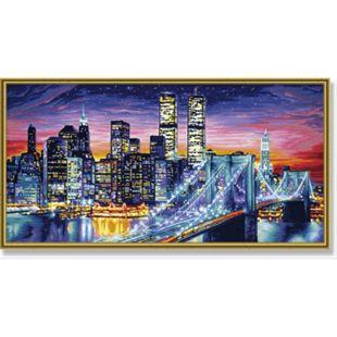 Malen nach Zahlen Simba Schipper  - Manhattan bei Nacht 40 x 80 cm - Bild 1