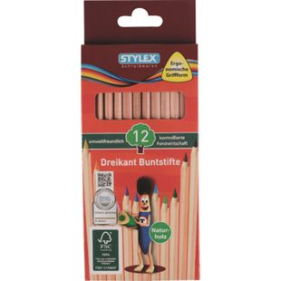 Stylex 12 lange Buntstifte Naturholz aus FSC-Holz - Bild 1