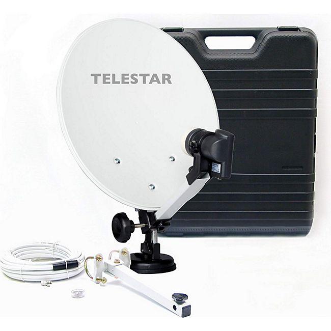 TELESTAR Camping-Sat-Anlage mit full HD Sat-Receiver DB 6 S HD (Hartschalenkoffer, 13,7 Zoll (35 cm) Spiegel , Single-LNB (0,1dB), Kompass, Kabel 10m, diverse Halter) - Bild 1