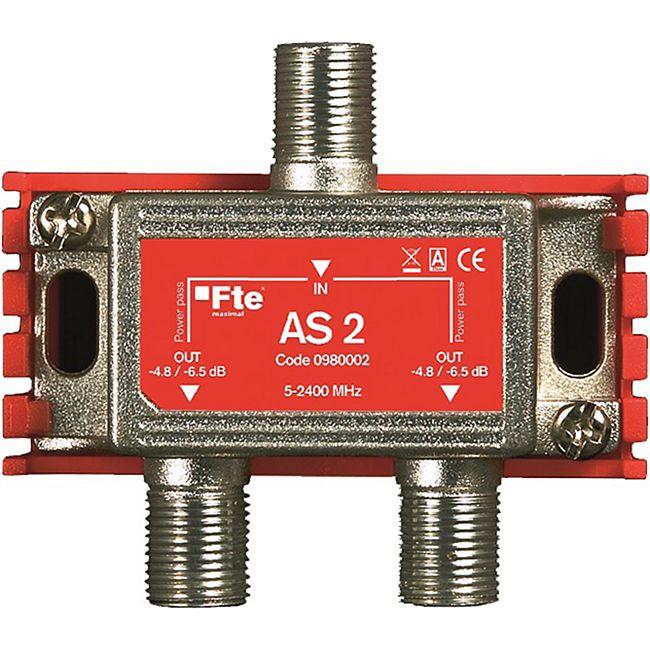 Fte maximal AS 2 TV-Signal Verteiler (Breitbandverteiler, 2-Ausgänge, 5-2400 MHz, Classe A, F-Anschluss, Schirmungsmaß: > 100 dB) - Bild 1