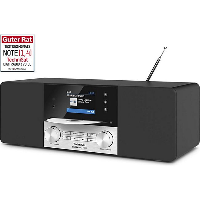 "TechniSat DIGITRADIO 3 VOICE DAB+ (UKW-Radio, CD-Player mit MP3-Wiedergabe,  2,8"" TFT-Display, USB-Schnittstelle mit Ladefunktion,  Internetunabhängige Sprachsteuerung) - Bild 1"