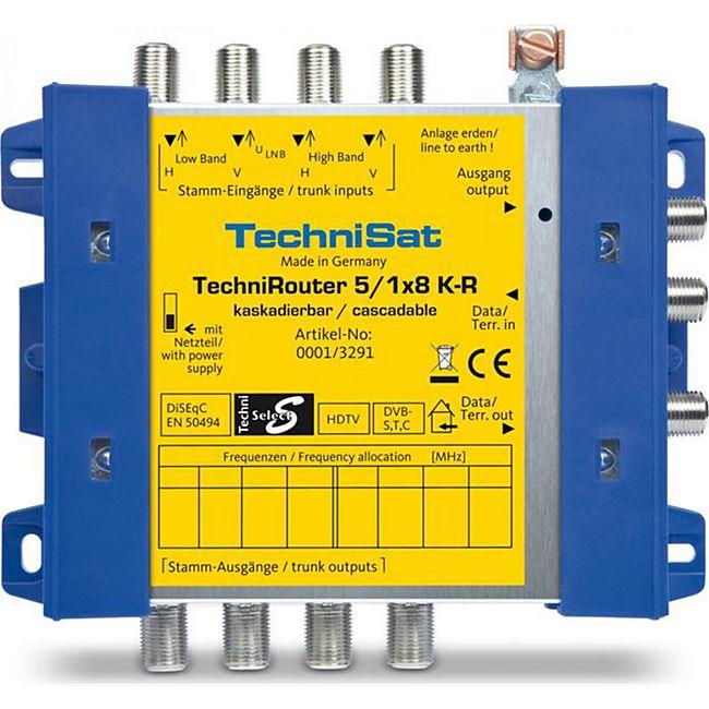 TechniSat TechniRouter 5/1x8 K-R (Kaskadeeinheit zur Erweiterung einer Grundeinheit), blau-gelb (Digitale Einkabellösung) B-Ware - Bild 1