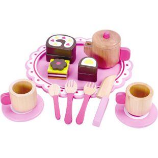 Tooky Toy Kaffee- und Teeservice Set aus Holz - Kinder-Spielzeug zur Festigung von sozialen Fähigkeiten und logischem Denken - ca. 23 x 21 x 10 cm - geeignet ab 36 Monaten (ideal für Kleinkinder) - Bild 1