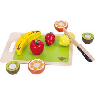 Tooky Toy Spielzeug Holztablett mit Obst zum Schneiden und Spielen - mit Obststücken aus Holz, die halbiert werden können - Spielküche als perfekte Vorbereitung für Kinder - ab 36 Monaten - ca. 22 x 15 x 6 cm - Bild 1