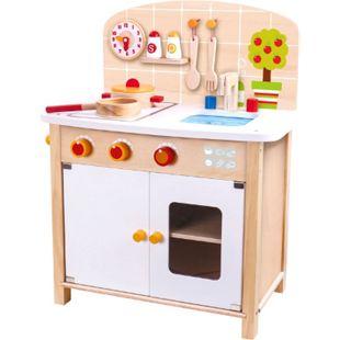 Tooky Toy große Spielzeug Küche Topf, Pfanne, Kochlöffel, Wanduhr, Spüle, Backofen und mehr - Spielküche als perfekte Vorbereitung für Kinder - ab 36 Monaten - ca. 52 x 30 x 63 cm - Bild 1