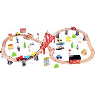 Tooky Toy Holzspielzeug großes 70-teiliges Holzeisenbahn-Set mit vielen Zubehörteilen - Bild 1