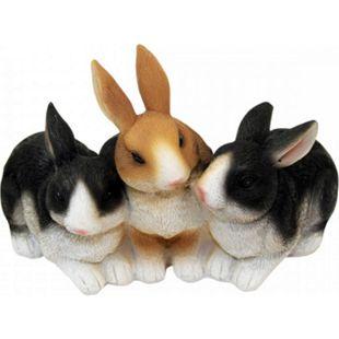 1PLUS Polyresin Gartenfigur Drei Kaninchen - Gartendekoration Tier-Figur - Bild 1