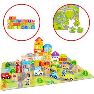 Holzbausteine, 100 Teile, Holzklötze Stadt-Leben, inkl. Alphabet,  Puzzle Spielmatte & Aufbewahrungsbox - Bild 1