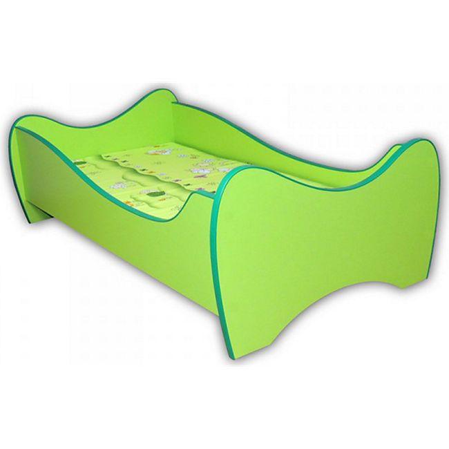 Kinderbett Curly inkl Rollrost mit geschwungenen Holzlatten + Matratze 70*140 cm grün - Bild 1
