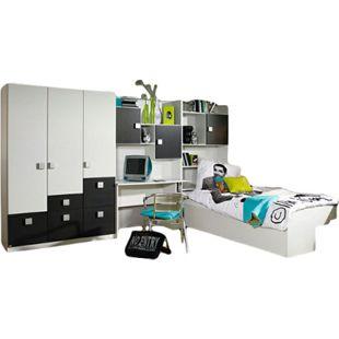 Kinderzimmer Pascal 4-tlg Kleiderschrank Schreibtischregal + Regal + Bettkasten weiß - brombeer - Bild 1