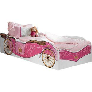 Kinderbett Zoe mit Kutschenmotiv 90*200 cm weiß - pink Jugendbett Bettliege Prinzessinen Holz Bett - Bild 1
