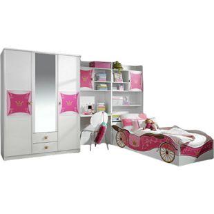 Kinderzimmer Zoe 4-tlg. Kleiderschrank mit Schreibtisch Regal Bettkastenschrank Bett weiß - pink - Bild 1