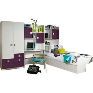 Kinderzimmer Pascal 4-tlg Kleiderschrank + Schreibtischregal + Regal inkl. Bett + Bettkasten weiß - Bild 1