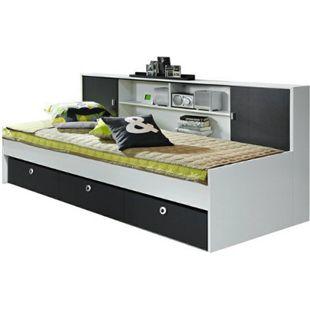 Funktionsbett Manuel inkl. 3 Schubladen + Regalüberbau mit 2 Schiebetüren 90*200 cm weiß - grau - Bild 1
