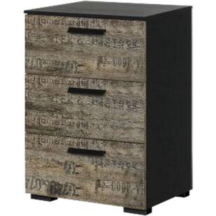 Kommode Svenja mit 3 Schubladen B 40 cm H 61 cm braun - schwarz - Bild 1