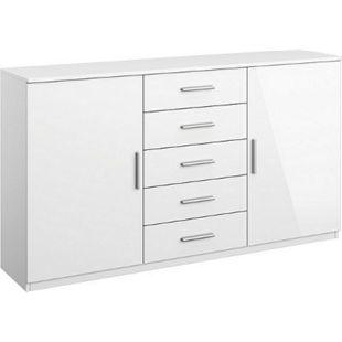 Kommode Ademaro hochglanz weiß 2 Türen + 5 Schubladen B 140 cm H 81 cm - Bild 1