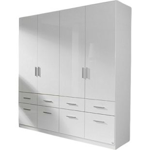 Kleiderschrank Ademaro hochglanz weiß 4 Türen B 181 cm - Bild 1