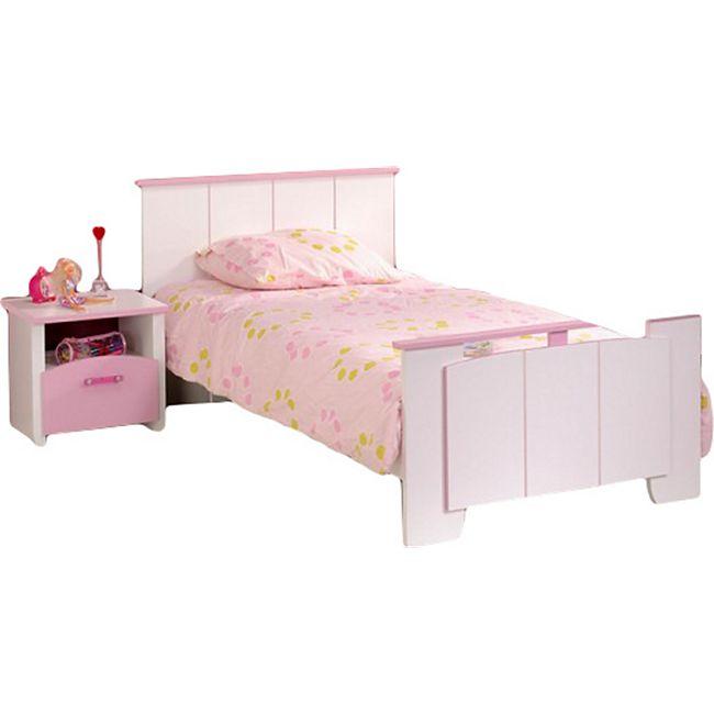 Kinderbett Biotiful Parisot inkl. Nachtkommode weiß - rosa - Bild 1
