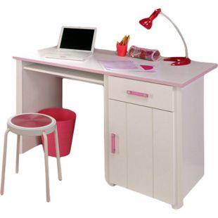 Schreibtisch Biotiful 122 x 65 cm 1 große Tür + 1 Schublade + 1 großes offenes Fach weiß - rosa - Bild 1