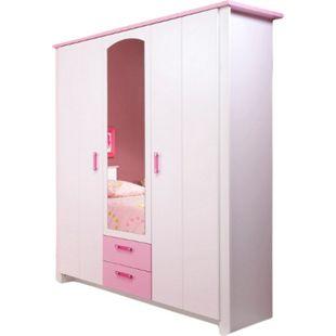 Kleiderschrank Biotiful Parisot 3-trg mit 1x Spiegel + 2 Schubladen weiß - rosa B 136 cm - Bild 1