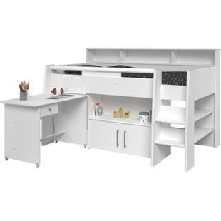 Hochbett Adone inkl. Lattenrostplatte + Schreibtisch + Kommode + Ablagefach + Bücherregale weiß - Bild 1